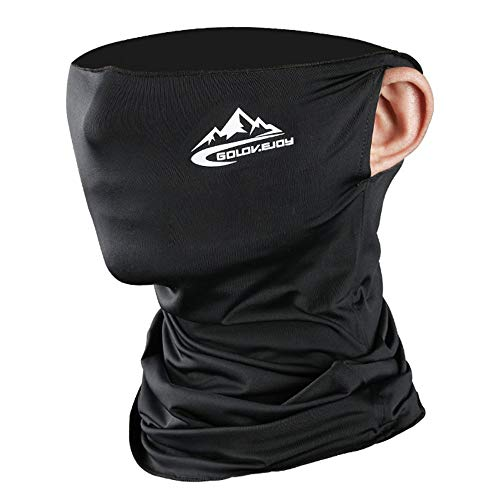 Cycling Mask with Ear-hook UV Protection Riding Bandana Scarf Neck Gaiters Breathable Cool Ice Sports Headwear (black)
