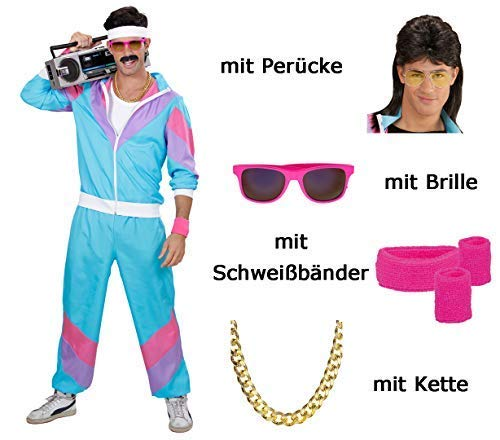Herren 80 er Jahre Trainingsanzug - Jogginganzug Gr. S bis XXL - pink - Partnerkostüm mit Brille, Schweißbänder, Perücke und Kette (XX-Large)