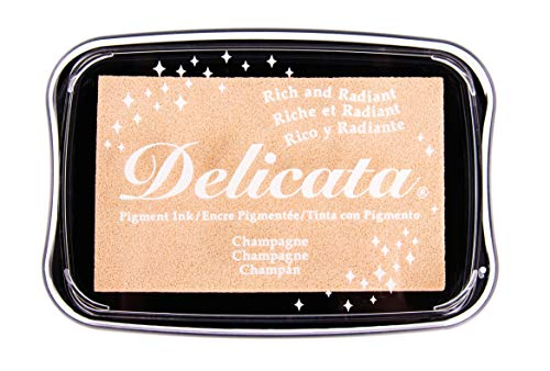 Rayher 29187617 Delicata Metallic Stempelkissen, glänzend, 9,9 x 6,8 x 1,9 cm, Pigmentkissen, Stempelfarbe, Tsukineko, kaschmir gold