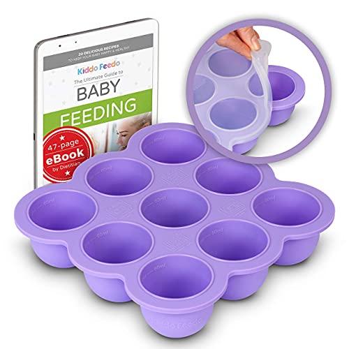 KIDDO FEEDO Recipiente para comida de bebé - Envase de silicona para congelar alimentos y papillas - 7 colores - Sin BPA - eBook gratis del autor/dietista - Púrpura