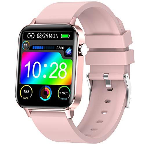 Judneer Smartwatch Mujer, 1.4'' Reloj Inteligente Rosa IP68 Impermeable, Pulsera Pantalla Táctil Completa con Monitor Sueño Contador de Caloría Pulsómetros Podómetro para Smart Watch Android y iOS