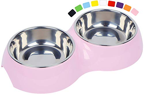 DDOXX Doppel-Fressnapf, rutschfest | viele Farben & Größen | für kleine & große Hunde | Futter-Napf Katze doppelt | Hunde-Napf Hund | Katzen-Napf Edelstahl-Napf | Melamin-Napf | Rosa Pink, 2 x 160 ml
