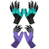 Garden Genie Gloves, Waterproof Garden Gloves with Claw for Digging Planting, Suitable for Digging and Seeding-Best Gift for Gardeners (Green + Purple)