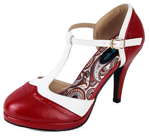 Lulu Hun Damen Schuhe Anne Budapester High Heel Pumps (36 EU, Weinrot/Weiß)