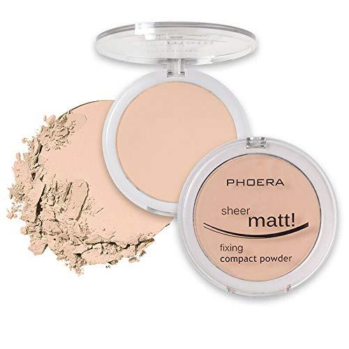 PHOERA Base de maquillage transparente et mate - Poudre compacte compacte pour le visage - Fixateur de maquillage longue durée pour la peau et la vitamine E - 102 beige naturel