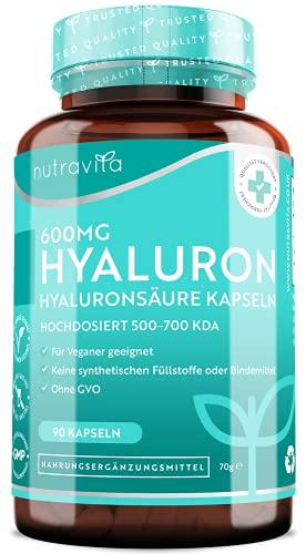 Nutravita® 600mg Hyaluronsäure Kapseln – Hochdosiert mit 600mg pro Kapsel - 500-700 kDa – Chargengetestet und zertifiziert von einem unabhängigen deutschen Labor – 90 vegane Hyaluron Kapseln