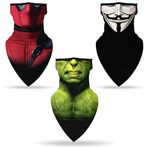 YAYOUREL 3 pcs Halloween Hulk Spider Man Anonymous V Bandana Neck Gaiter Face Mask Covering Bandanas for Men Women Summer UV Cooling Face Scarf Mask Cover Ear Loop Hole Triangle Facemask Green Red