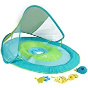 SwimWays Baby Spring Float with Canopy - Inflatable Float for Children with Detached Floating Toys and UPF Sun Protection - Aqua/Green