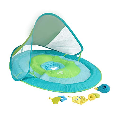 SwimWays Baby Spring Float with Canopy  Inflatable Float for Children with Detached Floating Toys and UPF Sun Protection  Aqua/Green
