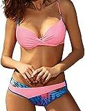 Tuopuda 2 Piezas Traje de Baño Conjuntos de Bikini para Mujer Retro Push-up Bra Bandeau Bikini Tops y Floral Impresión de Cintura Baja Bañador Braguitas(Rosa,M)