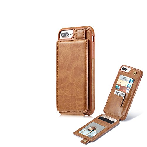 Royllent Custodia iPhone 8 Plus / 7 Plus, Custodia iPhone X, Custodia a Portafoglio in Pelle PU con Tasche ID e Porta Carte di Credito (iPhone 7/8 Plus, 01Brown)