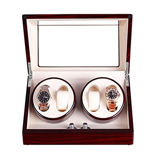 LYLSXY 4 Uhrenschachtel Für Automatische Uhren Mit Extrem Leiserem Motor, Großer Kapazität, Einstellbarer Uhrenkissen (Color : Sandal White)