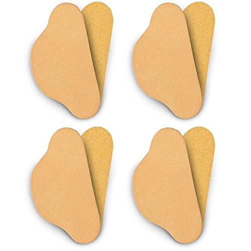 SULPO 4 pares de protectores de talón de piel para reparación de zapatos (beige natural).