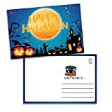50 Happy Halloween Postcards, Fun Greeting Cards for Friends, Family, and Kids - Cute Pumpkin Jack-o-Lanterns, Bats, Black Cat, and Spooky Haunted House Notes Colorful Haunted House On Spooky, 6'x4' Fill In Notecards