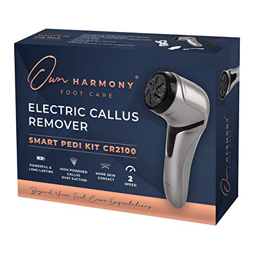 Own Harmony Electric Foot Callus Remover with Vacuum Absorption- Professional Pedicure Tools for Powerful Pedi Care - 3 Rollers Portable Electronic Feet File CR2100- Best for Hard, Dry, Cracked Heels
