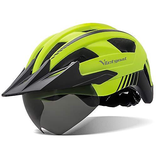 VICTGOAL Casco Bici Casco MTB Uomo con Luce LED, Occhiali Protettivi Magnetici, Visiera Traspirante, Casco da Mountain Bike per Unisex Caschi da Bicicletta Regolabili (Giallo)