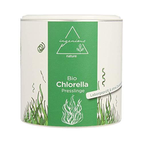 ingenious nature Laborgeprüfte Bio Chlorella Presslinge - 3 Monats Vorrat - ohne Zusätze - 600 Presslinge je 500mg (300g)