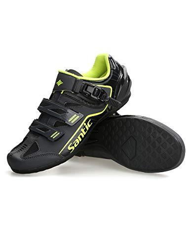 Santic Cycling Shoes Mens Cycle Shoes Road Bike Mountain Bike MTB Shoes Flat Without Cleats Set Grey EU 43