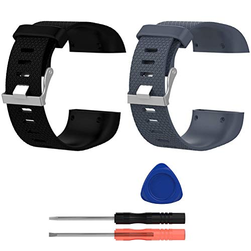 E ECSEM Replacement Bands Compatible with Fitbit Surge, Large, Silicone Wristbands/Straps for Surge Fitness Superwatch, 2pcs: D