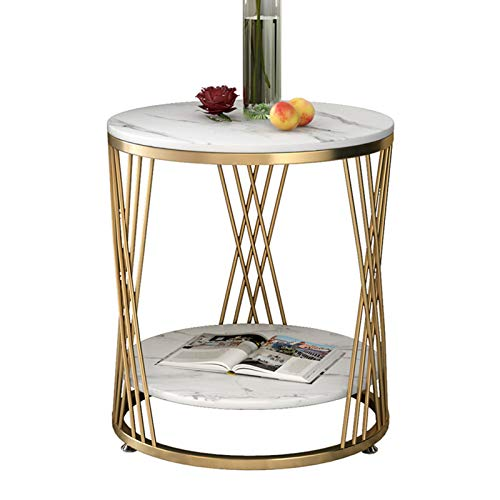 Table Nordic Marble Side 2-tier Golden Sofa Coffee Round Corner With Golden Metal Frame For Living Room Balcony Bedroom,White(Size:50x55cm)