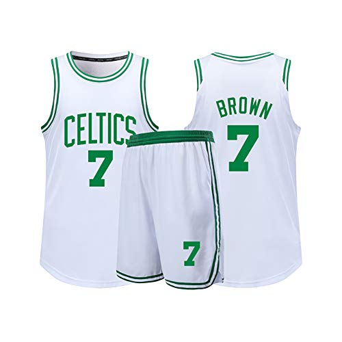 Men's Basketball Jerseys Suitable for Celtics Brown No. 7 Jersey Sports Shirts, Performance Vests and Shorts Suits-White-M