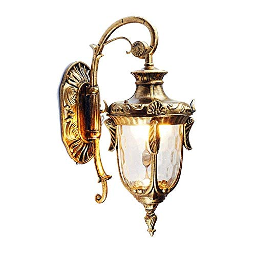 LNDDP Firenze Aplique Pared Flush Outdoor Farol Lámpara Pared Adornado E27 Aplique Pared Tradicional Aplique Pared Exterior Aluminio Retro Vintage para Patio Pasillo Villa