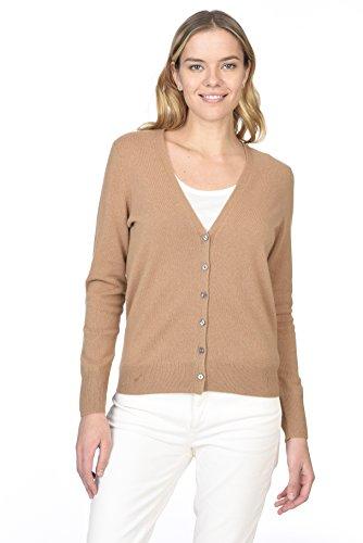 State Cashmere Damen Strickjacke 100% reines Kaschmir Knopfleiste Langarm Pullover mit V-Ausschnitt (M, Cammello)