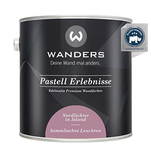 Wanders24® Pastell Erlebnisse (2,5 Liter, himmlisches Leuchten) edelmatte Wandfarbe - Feine Farben - in 40 Farbtönen - Wandfarbe Grau - Made in Germany