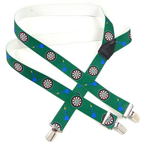 Pantalons porteur Homme Femme Vert Dart Dart Motif Support Men Woman Suspenders Green bretelles Pantalons de qualité avec un motif 2125