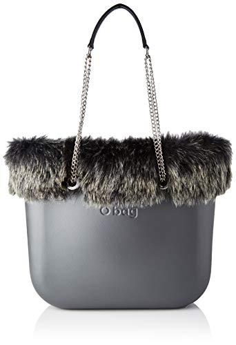 O bag Borsa Completa Obag 07, Bolso tipo tote para Mujer, Gris (Grafito), 14x31x39 centimeters (W x H x L)