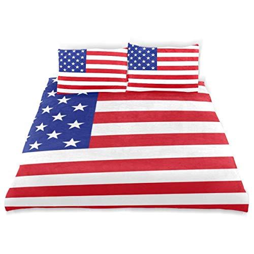 Set copripiumino Bandiera Stati Uniti America Banner moderno Set biancheria da letto decorativa 3 pezzi con 2 fodere per cuscini