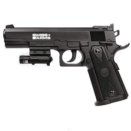 Swiss Arms 1911 + láser | Pistola de Aire comprimido (CO2) y balines/perdigones BB's de Acero - Réplica de <3,5J