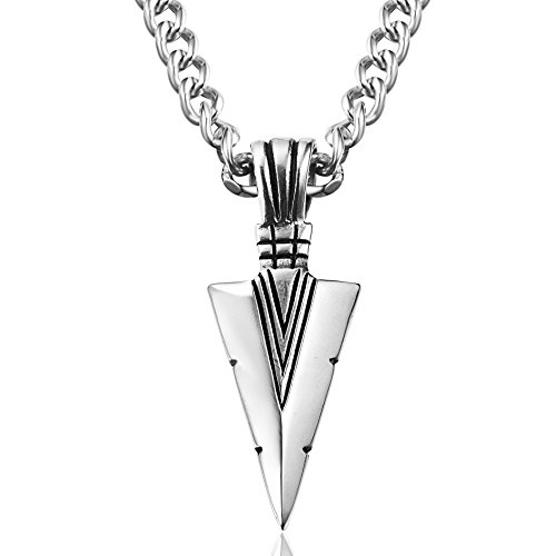 "Besteel Jewelry Stainless Steel Arrowhead Pendant Necklace for Men Biker Punk 24"" Chain"