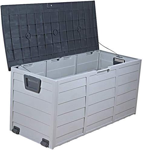 LYATW Rangement extérieur Banc et Pont Box for Meubles de Patio, verrouillables de Stockage Plate-Forme Boîte Soleil et étanche for Le Jardin Cour Garage (Color : Black, Size : 112x48x54cm)