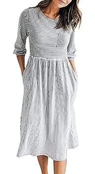 MEROKEETY Women s 3/4 Balloon Sleeve Striped High Waist T Shirt Midi Dress with Pockets