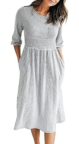 MEROKEETY Women's 3/4 Balloon Sleeve Striped High Waist T Shirt Midi Dress