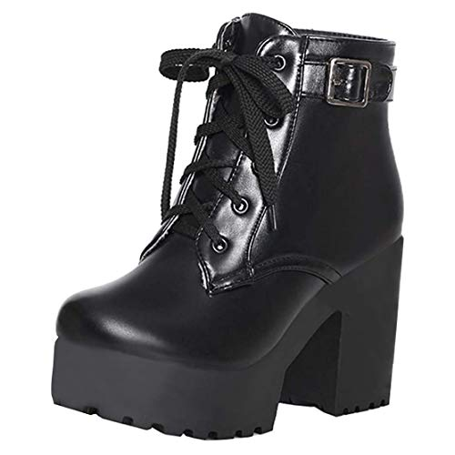 Blockabsatz High Heels Stiefeletten mit Schnürung und 10cm Absatz Ankle Boots Winter Schuhe(Schwarz,34)