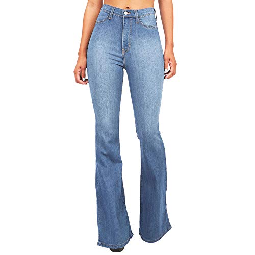 High Waisted Jeans for Women Plus Size Tummy Control Bell Bottom Denim Pants Loose Wide Leg Jeans Light Blue