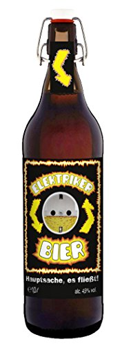 Elektriker Bier Handwerk Strom - 1 Liter Flasche mit Bügelverschluss
