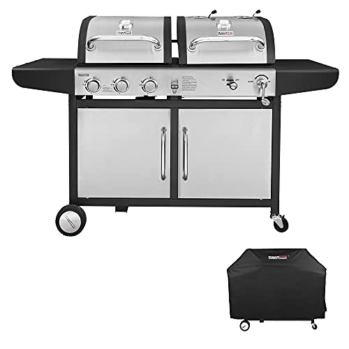 Royal Gourmet ZH3002SC 3-Burner 25,500-BTU Dual Fuel Propane and Charcoal Combo with Protected Grill...