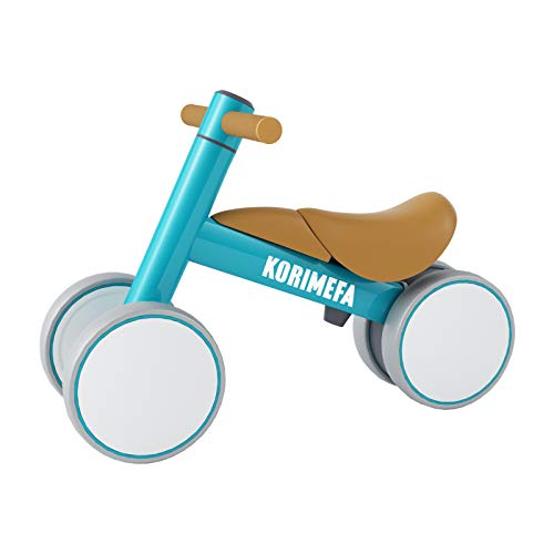 KORIMEFA Bicicleta de Equilibrio para Bebés 10-36 Meses sin Pedalescon 4 Ruedas Ultraligera y Triciclos Bebes, Correpasillos Bebes 1 Año (Azul)