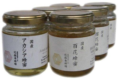 近藤養蜂場 国産アカシア蜂蜜 140g×3個 & 国産百花蜂蜜 140g×3個セット