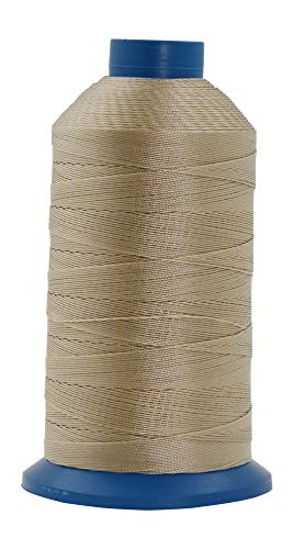 Mandala Crafts Bonded Nylon Thread for Sewing Leather, Upholstery, Jeans and Weaving Hair; Heavy-Duty (T135#138 420D/3 1250 Yards, Khaki)