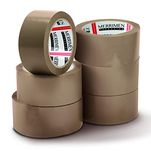 MERRIMEN 6 Rolls Pack Brown Packaging Tape for Parcel Boxes. Heavy Duty, Strong, Secure Sticky Seal for Long Term Storage (48MM x 66M)