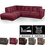 Cavadore Schlafsofa Modeo, mit Federkern, Sofa in L-Form mit Schlaffunktion im modernen Landhausstil, Holzfüße, 261 x 77 x 214, Lederoptik, rot