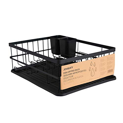 Escurridor de platos de metal negro mate JOHSEATY (42 x 31,5 x 15,5 cm) - Escurridor de platos sobre el fregadero con soporte para cubiertos y bandeja de goteo de plástico para almacenamiento