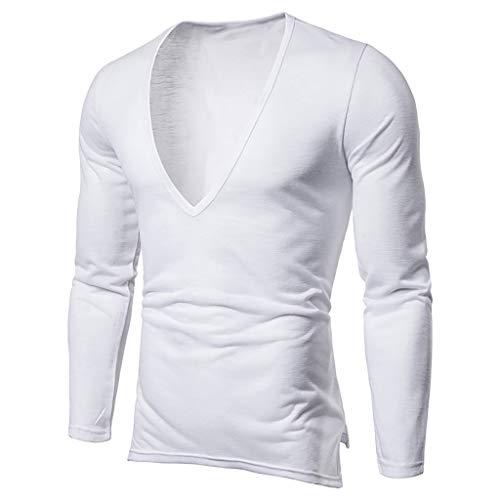 Xmiral T Shirt Uomo Vintage Casual a Maniche Corte Slim Fit Maniche Corte Camicetta Maglietta Camicetta Maglia Maglietta Maglietta a Maniche Corte da Uomo Maniche Corte da XL Bianca