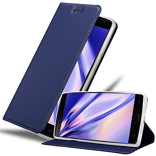Cadorabo Book Case Works with OnePlus 2 in Classy Dark Blue - with Magnetic Closure, Stand Function and Card Slot - Wallet Etui Cover Pouch PU Leather Flip
