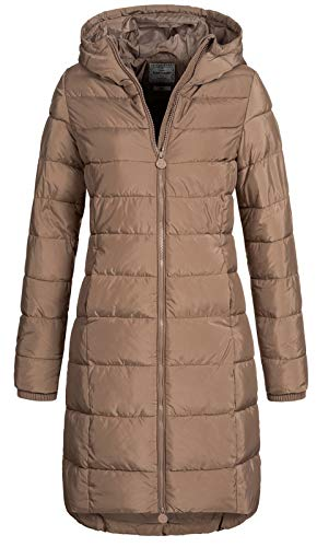 Eight2Nine Damen Steppmantel LETN-039 Lange Stepp-Jacke mit Kapuze Nougat beige L