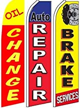 Oil Change Auto Repair Brake Services Swooper Flag Pack of 3 (Mount and Poles are Not Included)